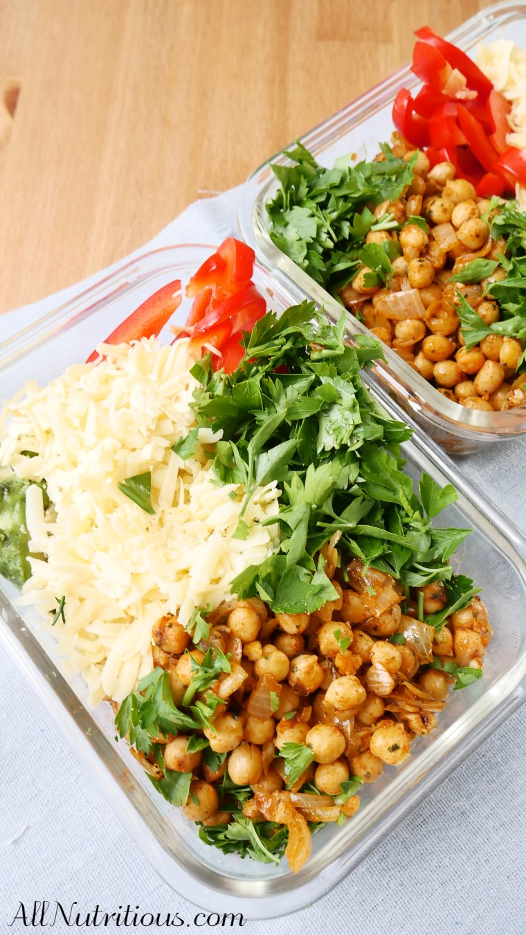 spicy chickpea meal prep bowls