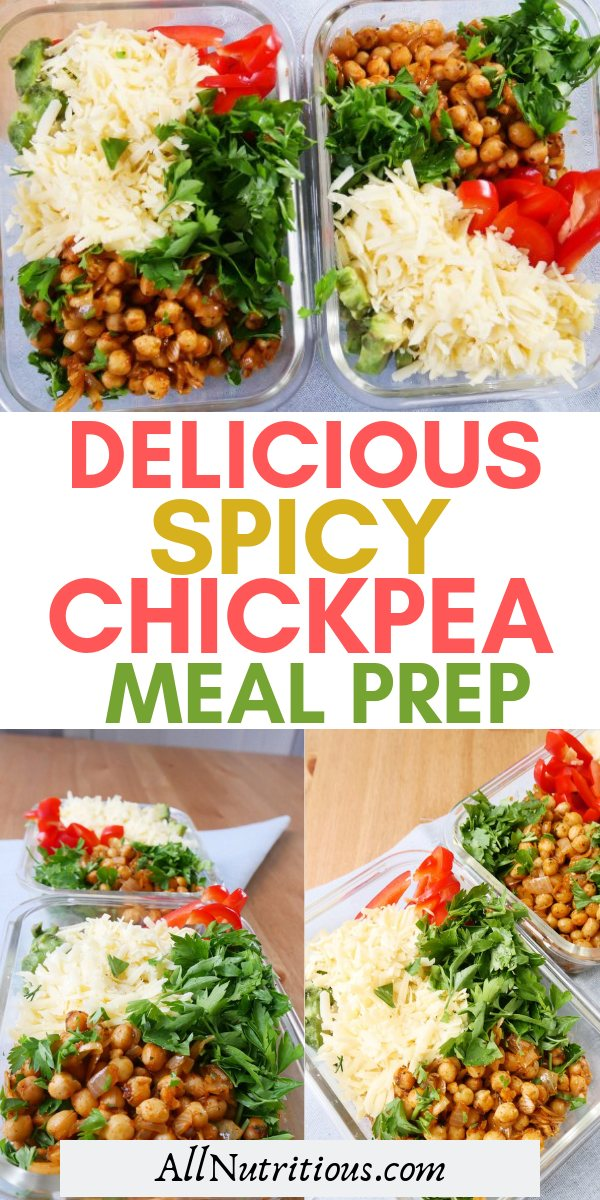 These delicious spicy chickpea meal prep bowls are delicious and great for weight loss. If you're vegetarian and need to consume more protein to build muscle and lose weight, this is a great healthy meal idea.