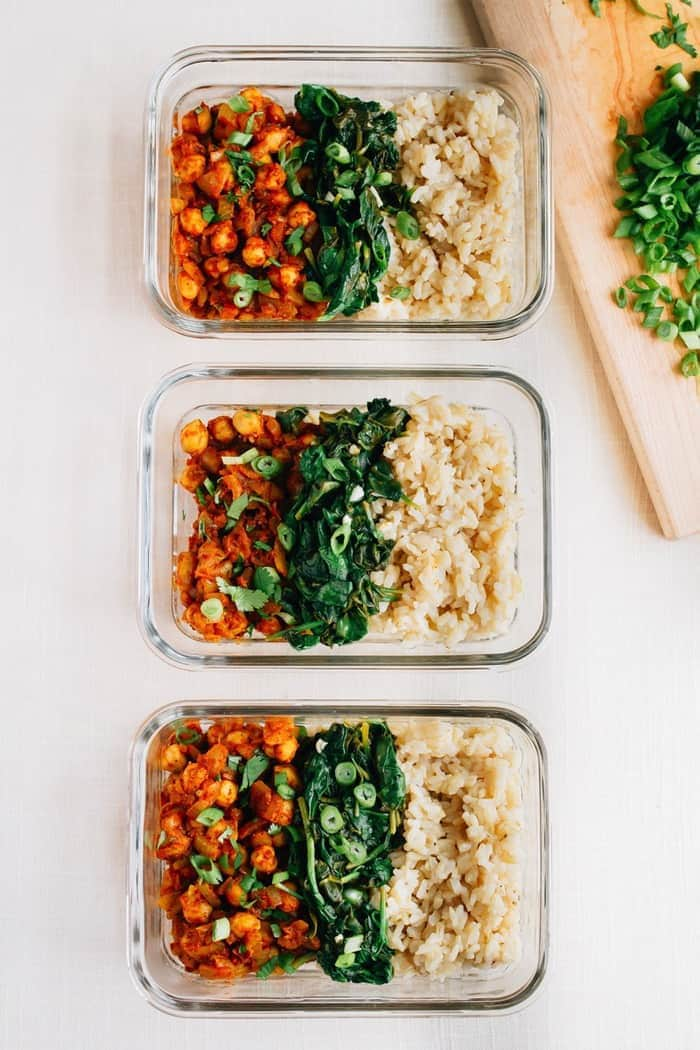 Curried Chickpea Bowls with Garlicky Spinach