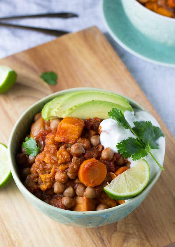 Slow Cooker Sweet Potato Chickpea Chili