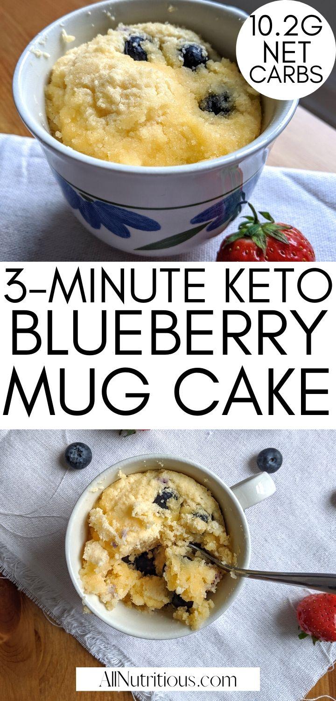 3-Minute Ketogenic Blueberry Mug Cake - All Nutritious