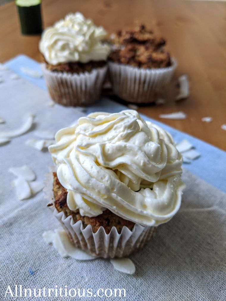 Keto Spiced Zucchini Cupcakes with Vanilla Frosting