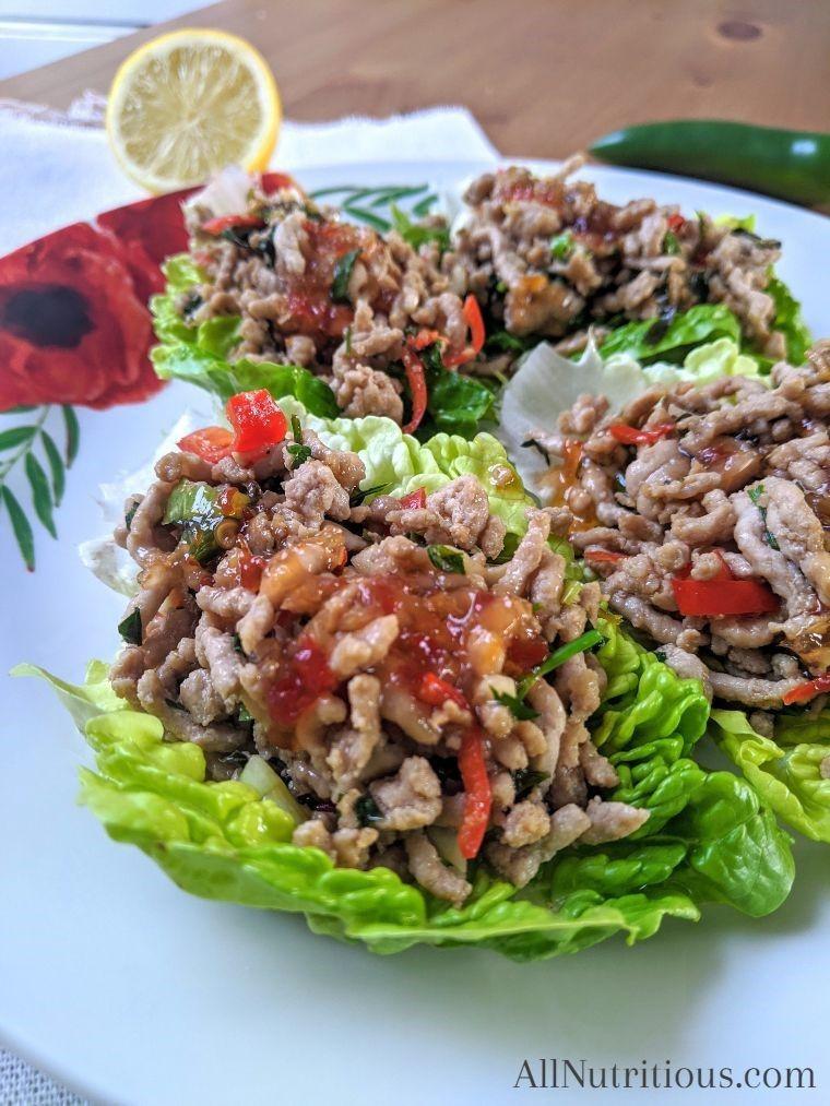 Sweet chilli pork lettuce wraps (keto)