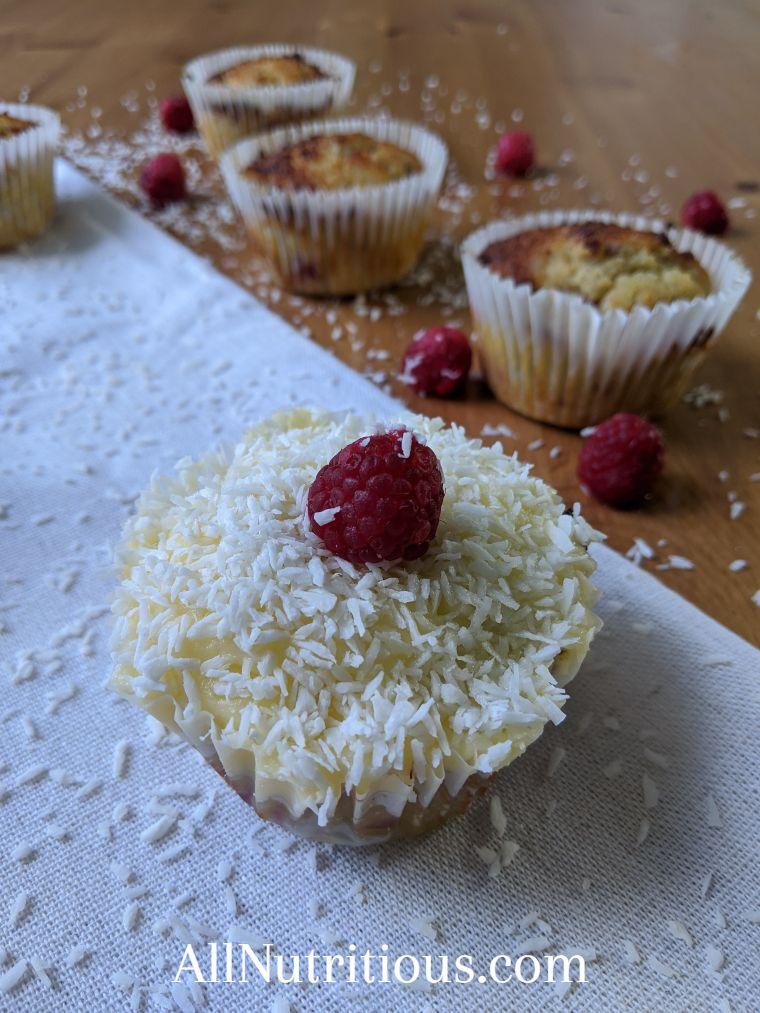 Keto Raspberry Coconut Cupcakes