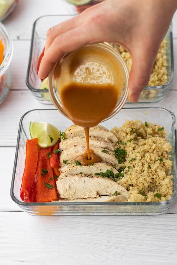 Thai Peanut Chicken Meal Prep Bowls
