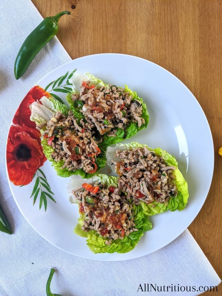pork lettuce wraps on a plate