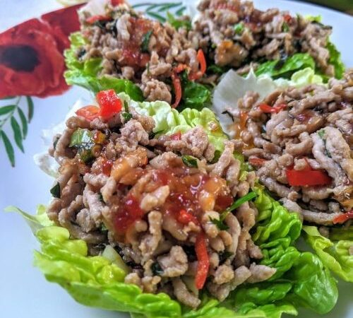 Ketogenic Sweet Chilli Pork Lettuce Wraps
