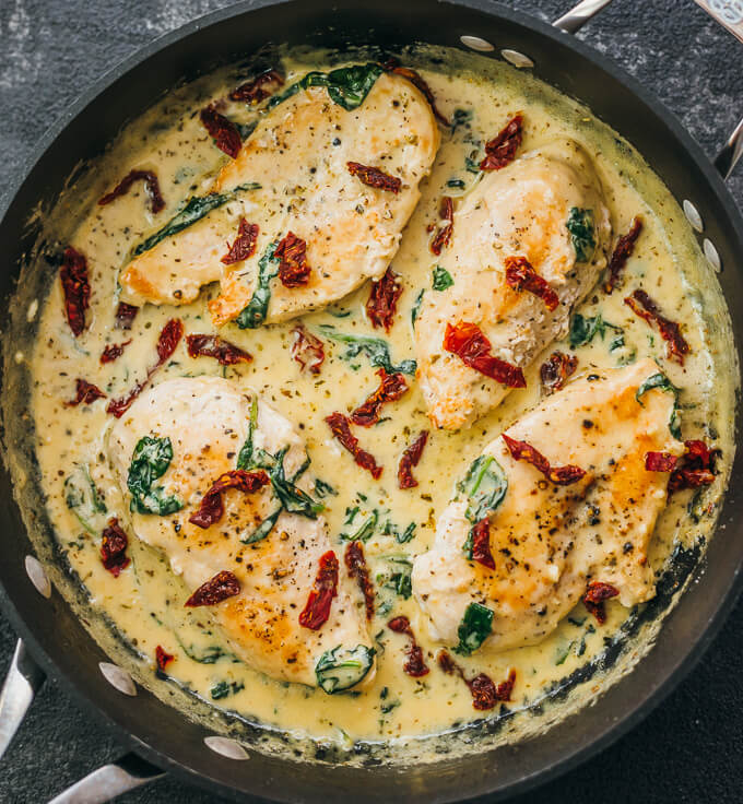 Tuscan Chicken With Sun-dried Tomatoes and Creamy Garlic Sauce