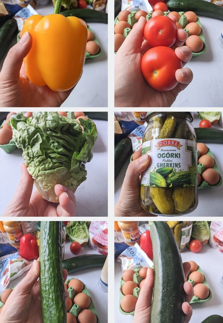 low carb vegetables - sweet pepper, tomato, lettuce, pickles, cucumber, zucchini