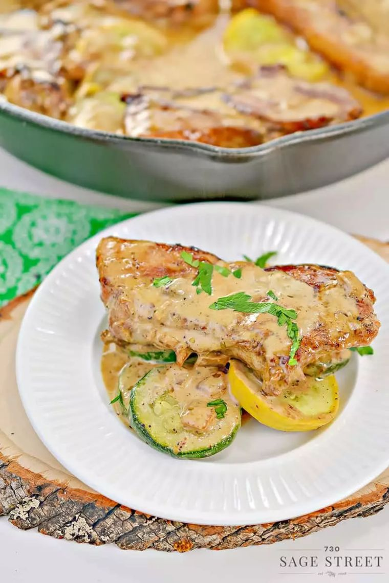 Creamy Mustard Pork Chops with Sauteed Vegetables
