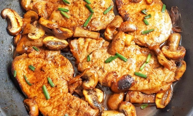 Pork Chops with Garlic Butter & Mushrooms