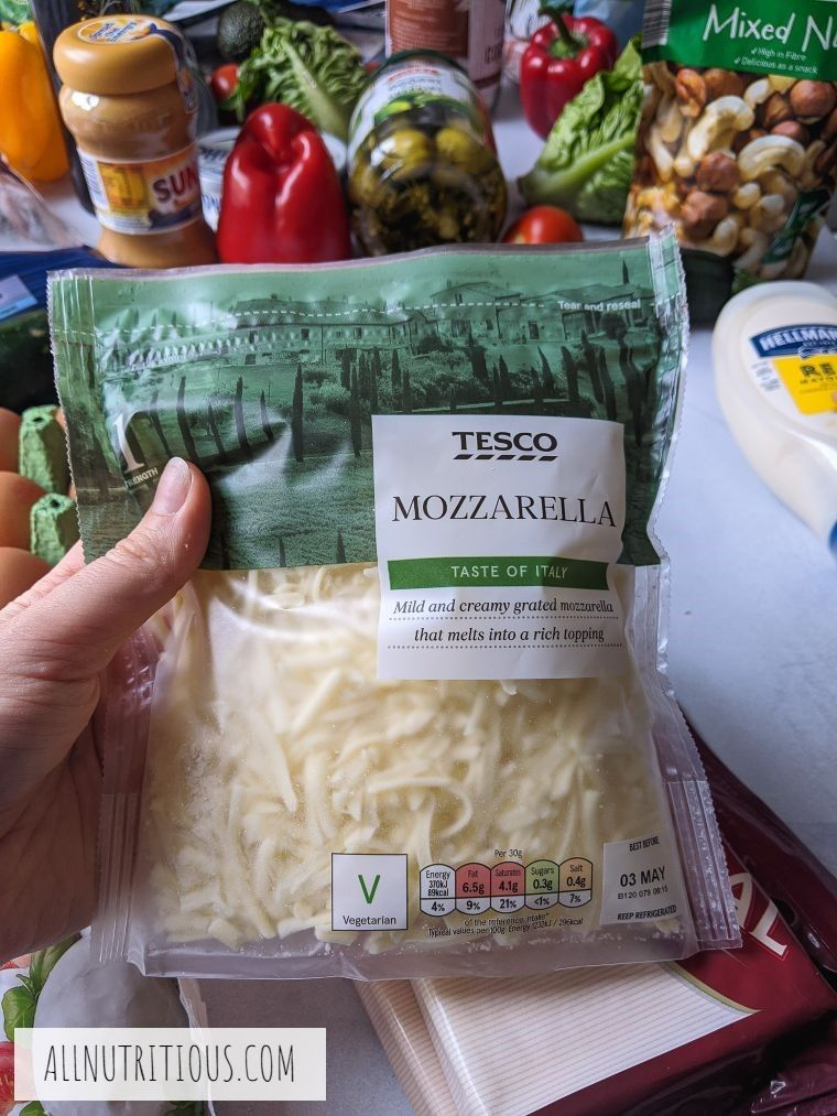 bag of shredded mozzarella