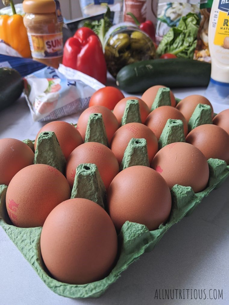 carton of brown eggs