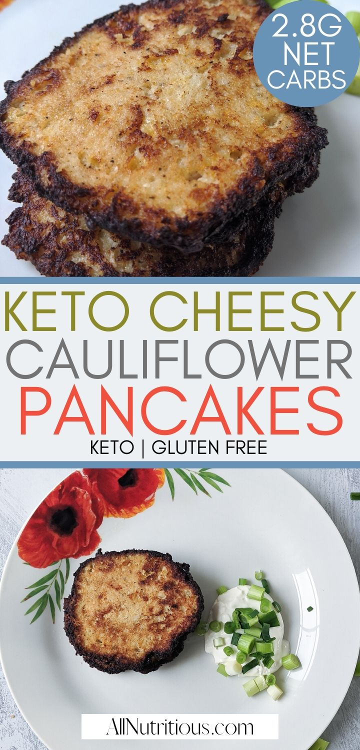 This is one of the keto cauliflower recipes you want to try. These savory keto pancakes are delicious and nutritious, they're quite heavy so you should have them as a low carb lunch or keto dinner. #lowcarb #ketodiet