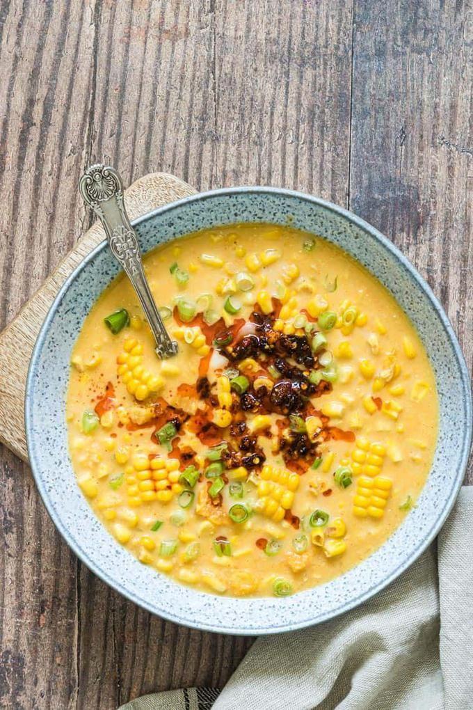 Instant Pot Corn Chowder With Sweet Potato