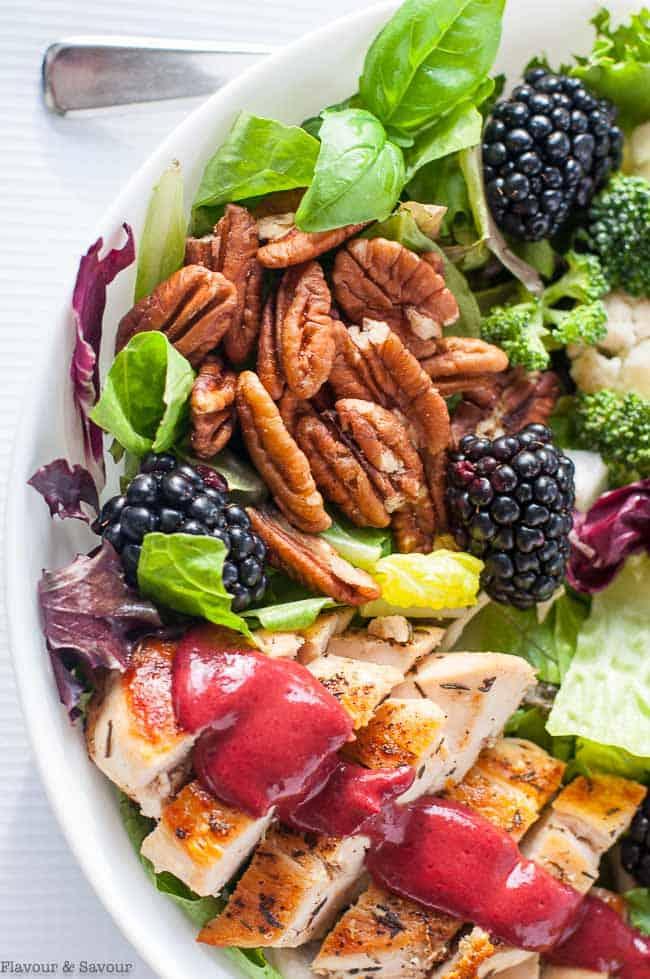 Blackberry Balsamic Grilled Chicken Salad