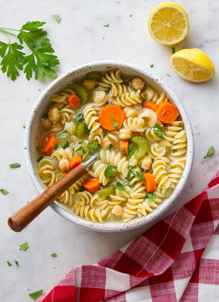 Hearty Chickpea Noodle Soup