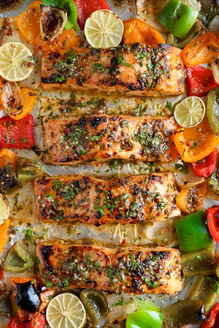 Sheet Pan Chili Lime Orange Salmon