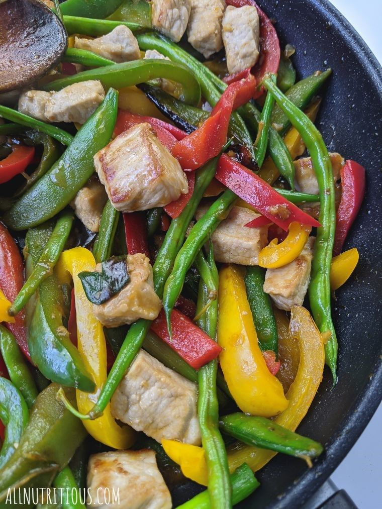 stir-fried meal prep with pork
