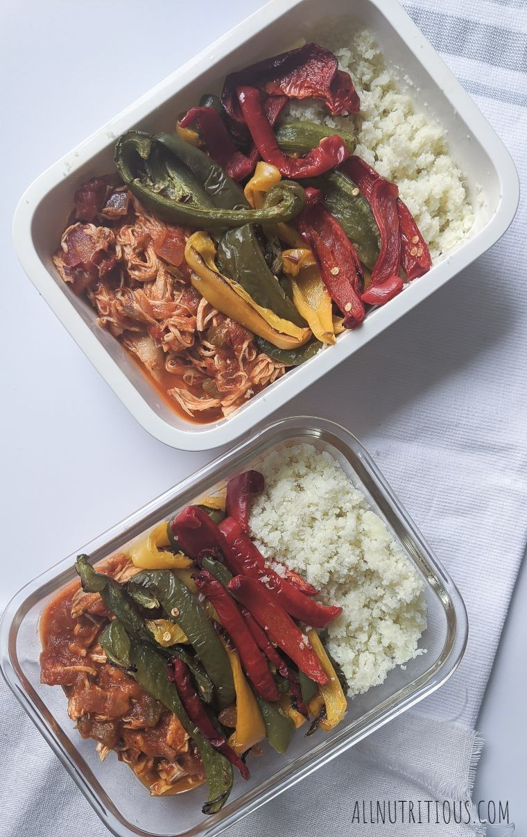 meal prep dish with salsa chicken