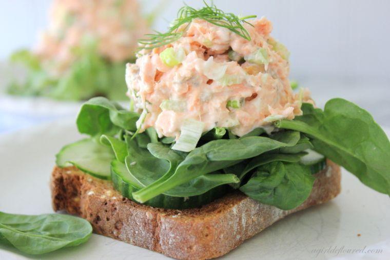 salmon salad and cucumbers
