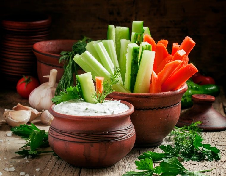 cucumbers and ranch dip