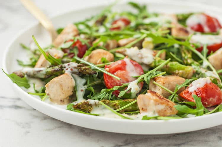 Warm Chicken Salad Over Arugula