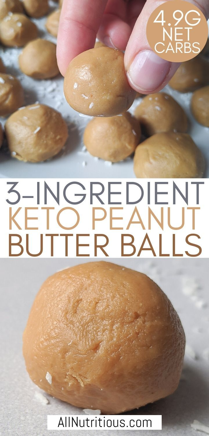 3-ingredient peanut butter balls pinterest pin