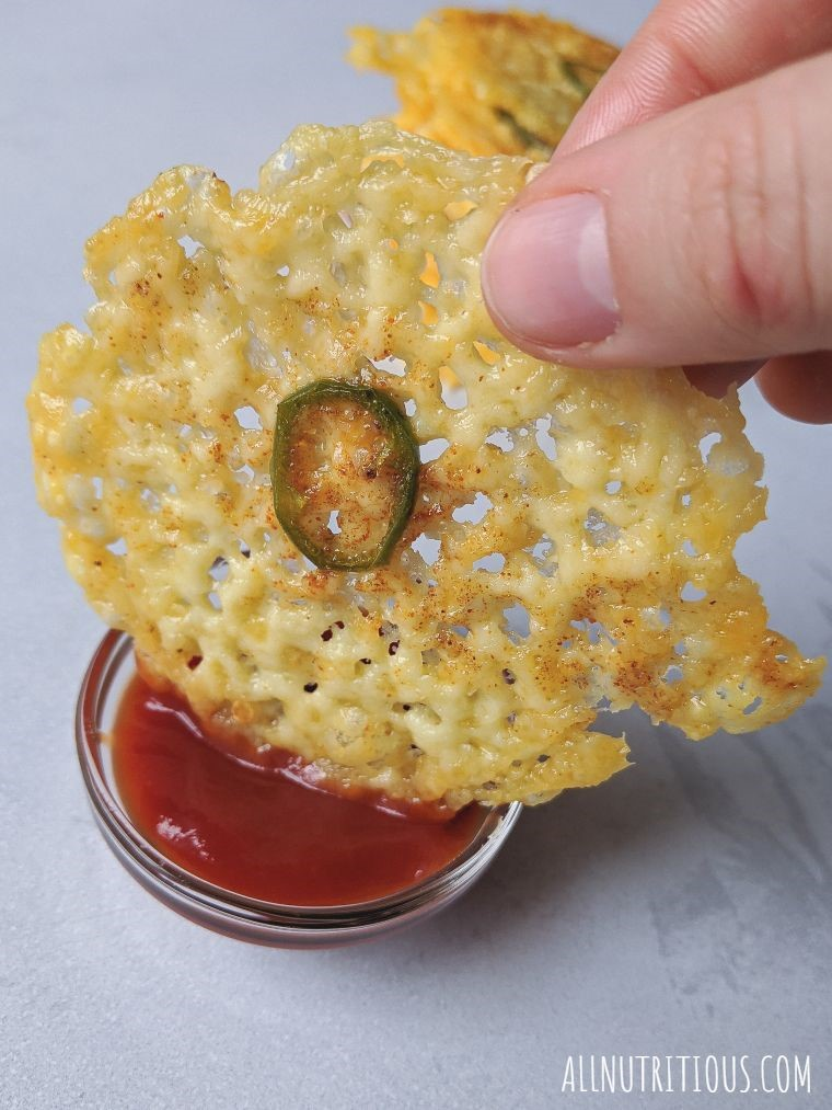 cheese chips in a dip