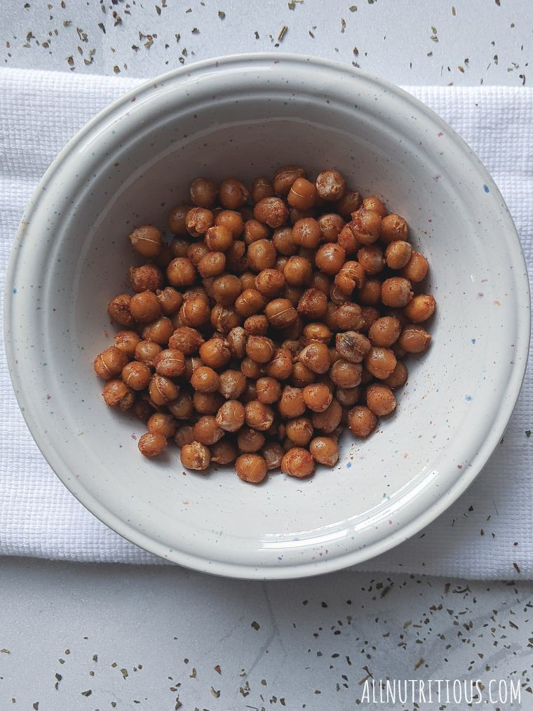 a bowl of spicy chickpeas