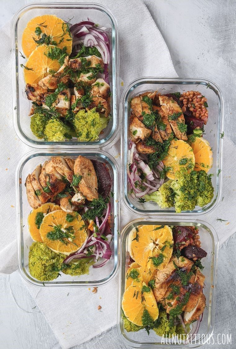 chicken with broccoli beets and farro meal prep