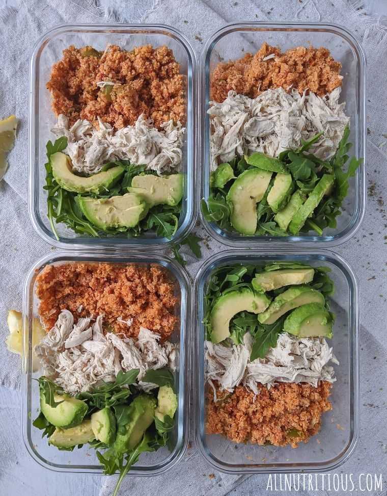 mexican meal prep bowls overhead shot