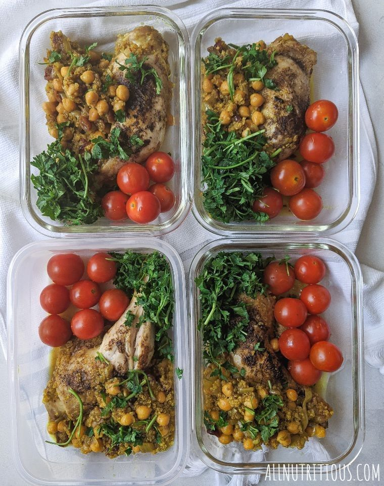 one-pan chicken legs in containers