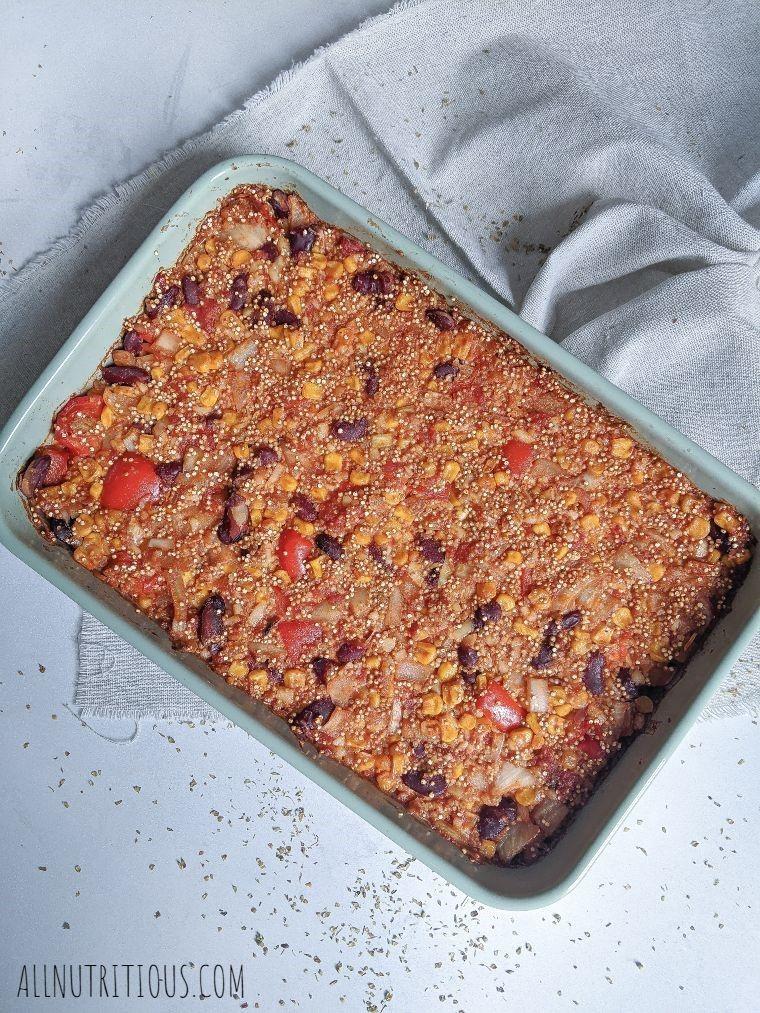 quinoa bean casserole overhead shot