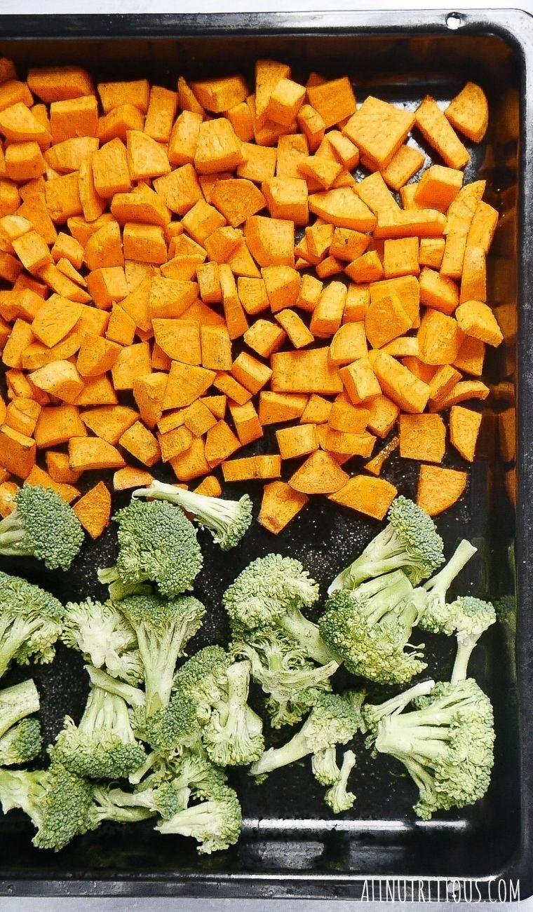 healthy baked veggies on baking sheet