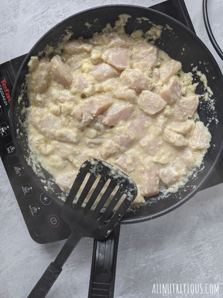 chicken in a frying pan