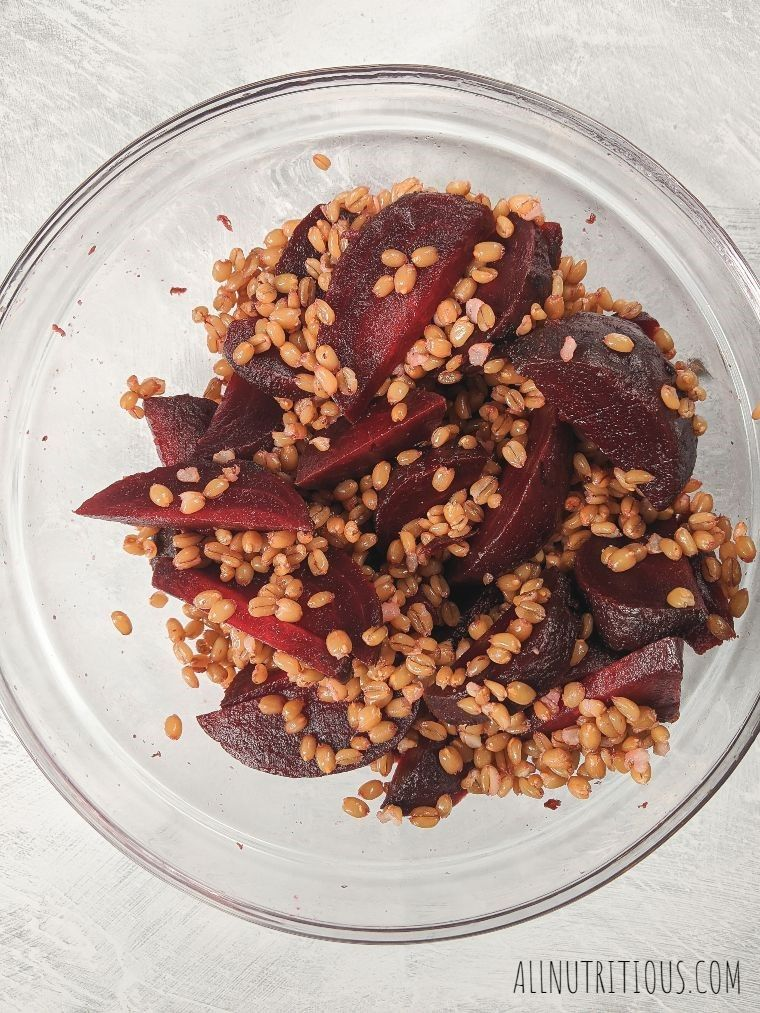 beets and farro salad