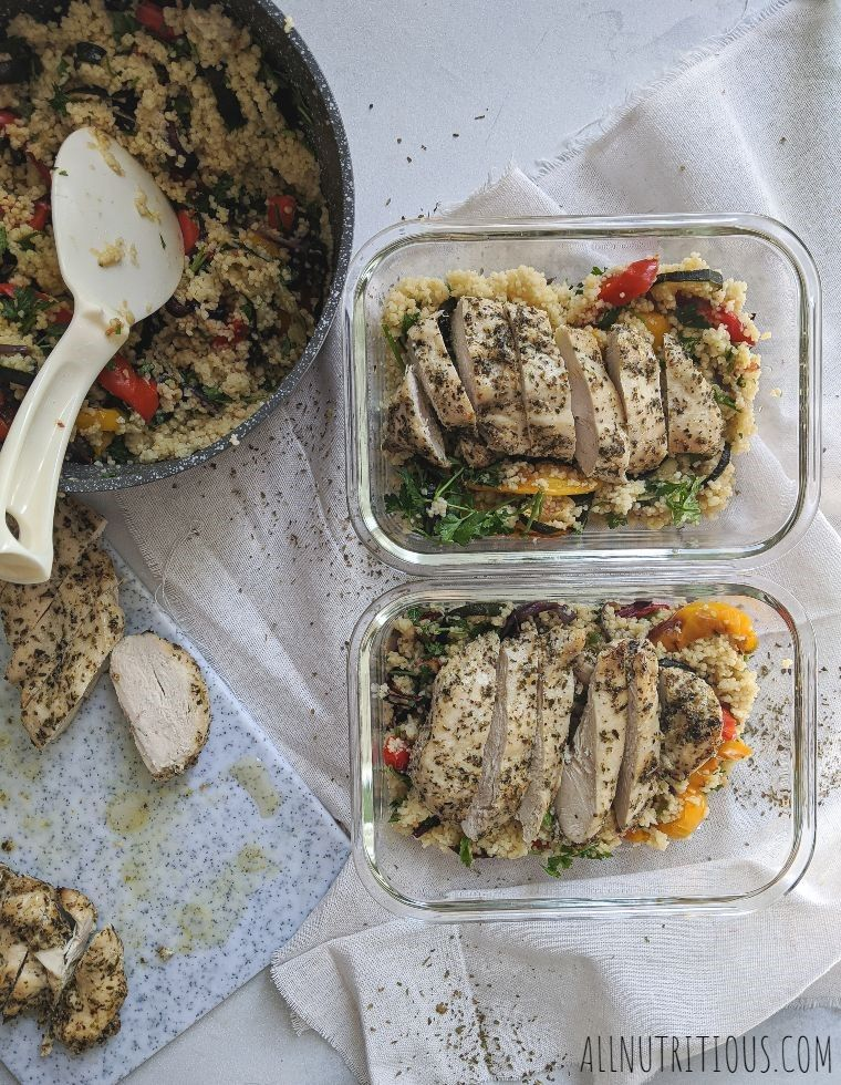 herb chicken meal prep bowls with couscous