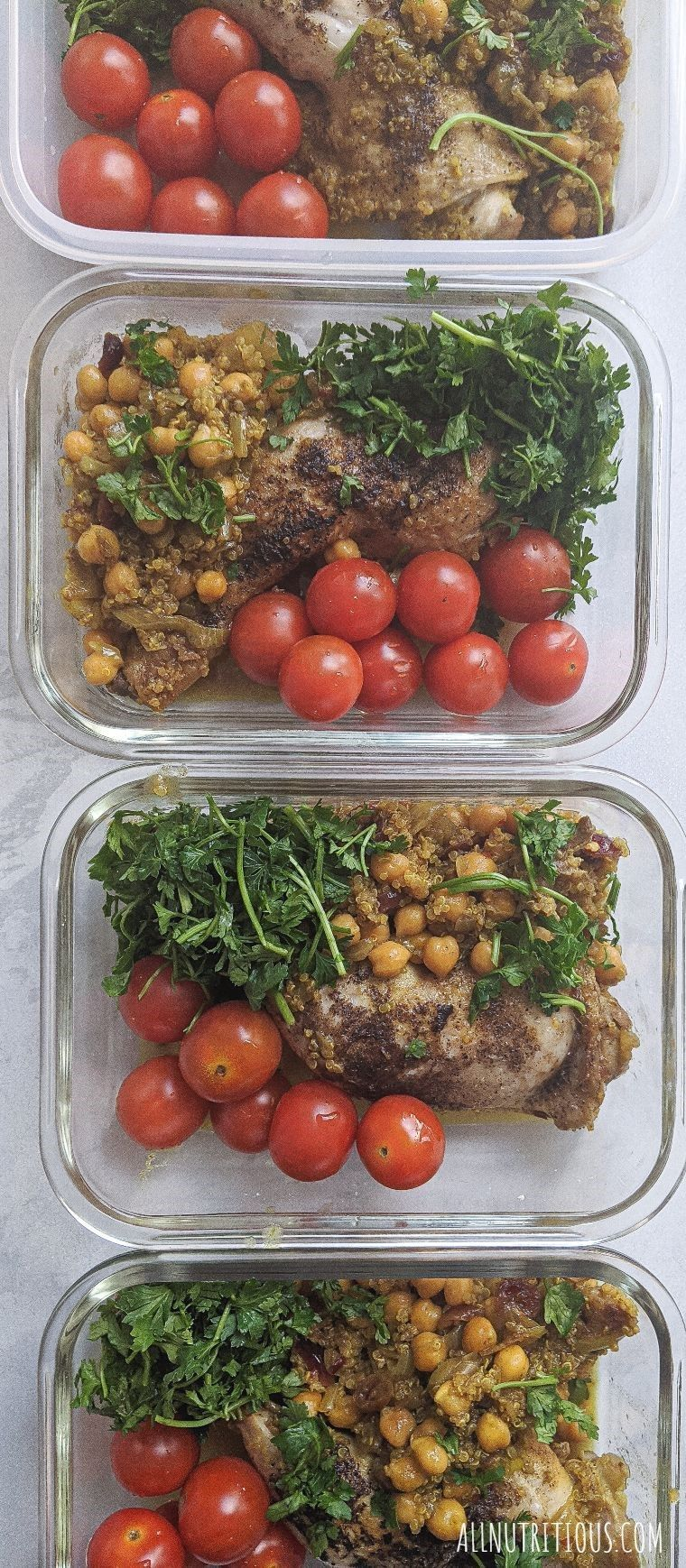 chicken leg meal preps multiple containers