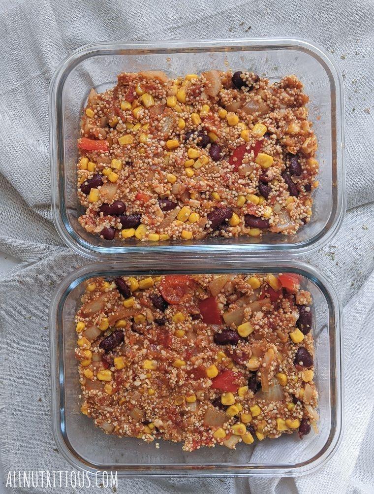 vegetarian mexican casserole with quinoa overhead shot
