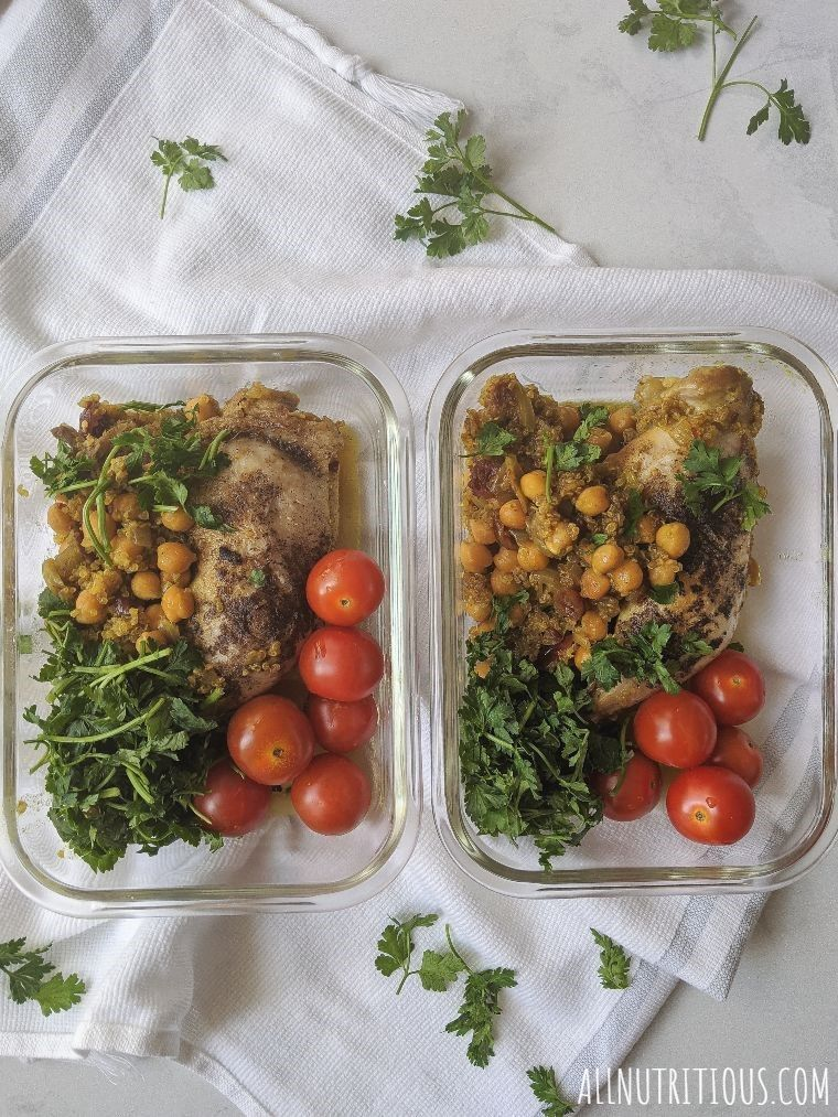 chickpeas and quinoa meal prep containers overhead