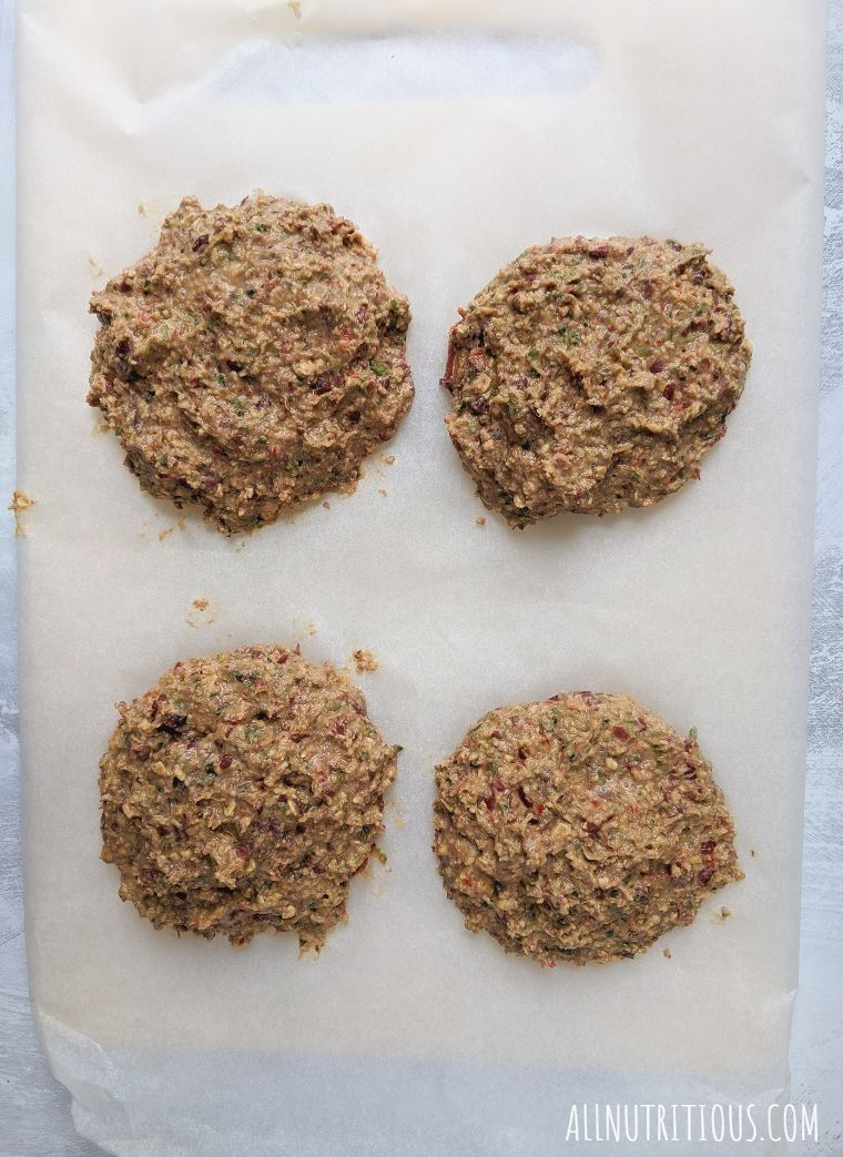 formed bean burgers on a cutting board