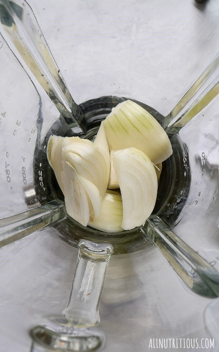 chopped onions in a blender