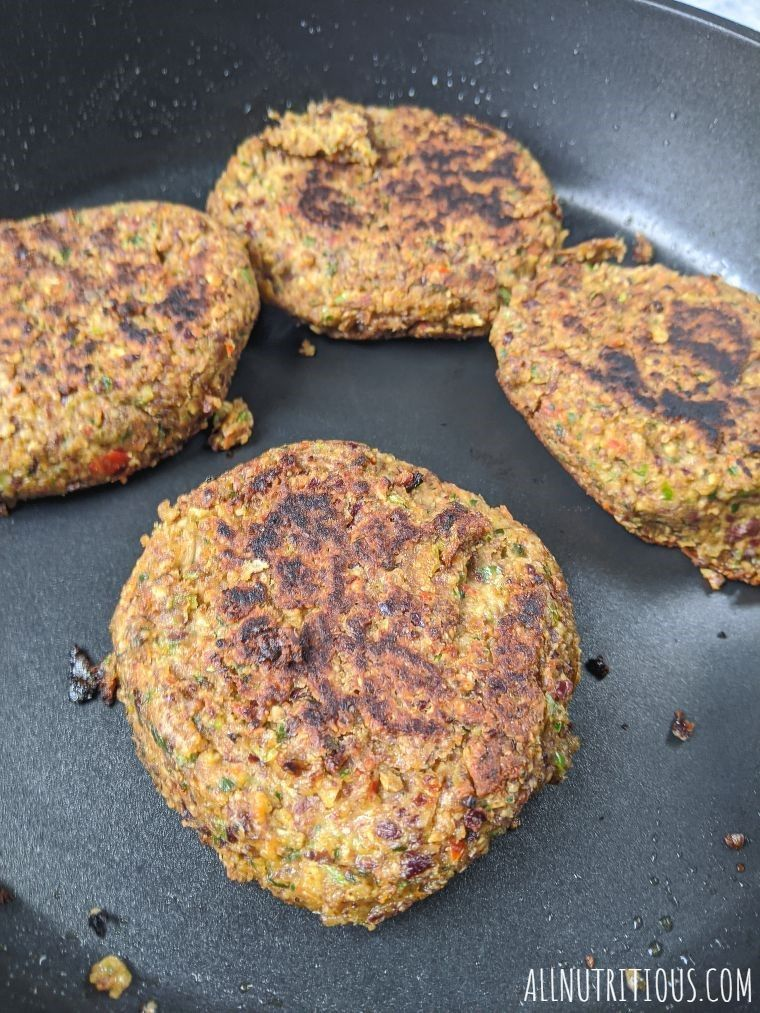red kidney bean burgers cooked