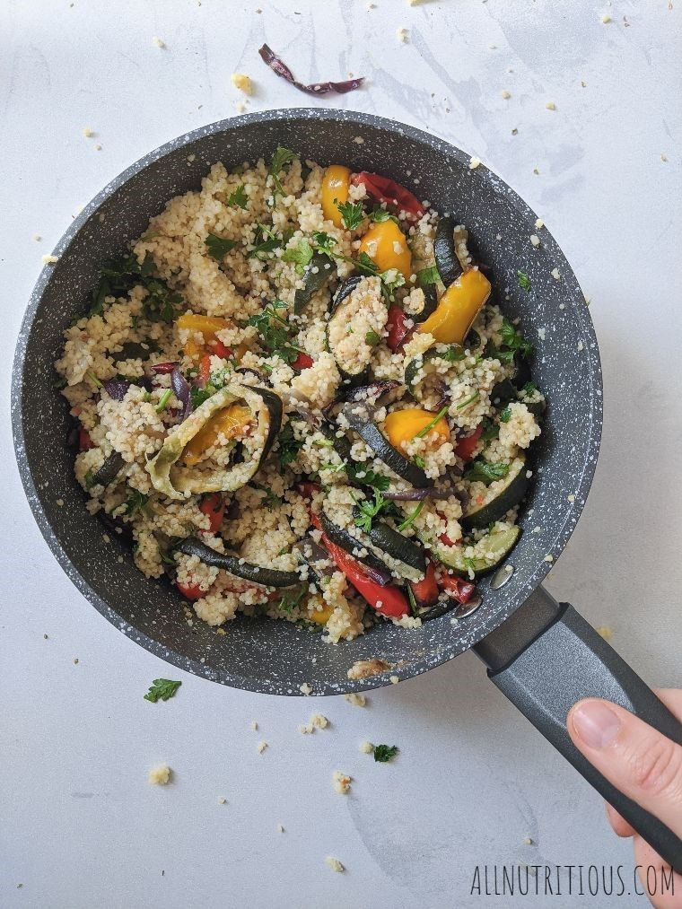 couscous with vegetables in a saucepan