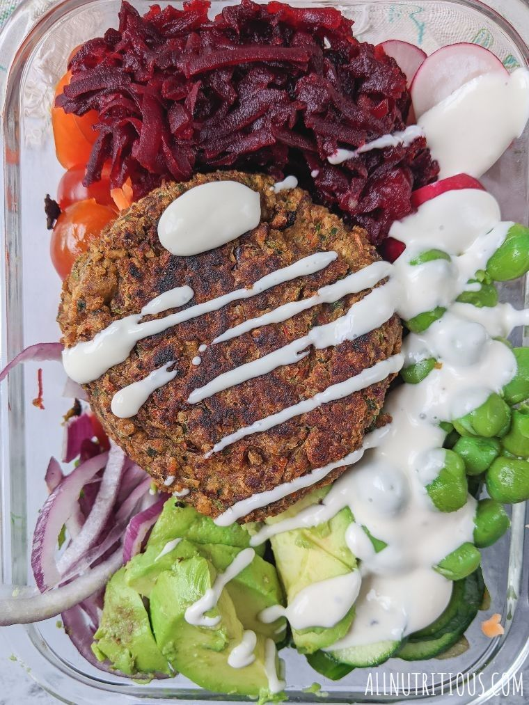 plant-based burgers in meal prep bowl