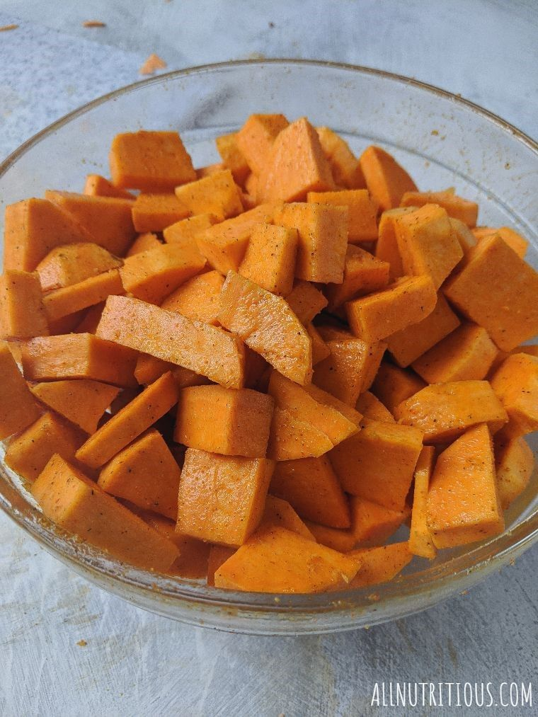 chopped sweet potatoes in a bowl