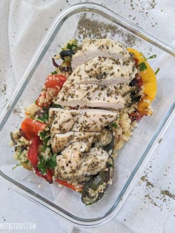 herbed chicken couscous meal prep bowls