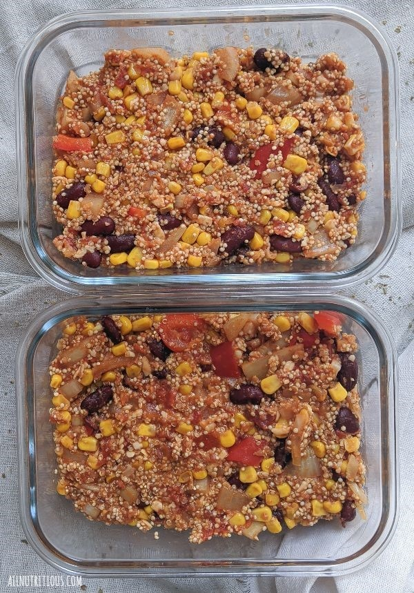 red bean quinoa casserole meal prep
