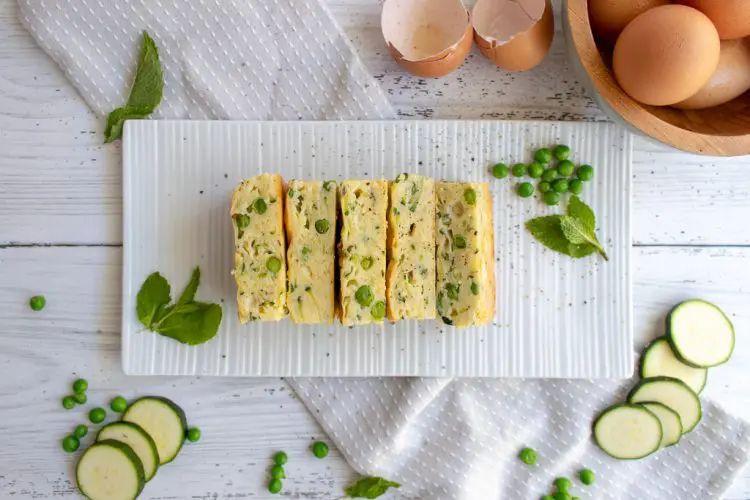 Zucchini, Pea and Ricotta Slice